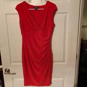Lauren Ralph Lauren Red Faux Wrap Dress Sz 6